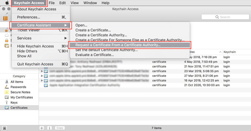 figure #9: Select 'Request a Certificate From a Certificate Authority'