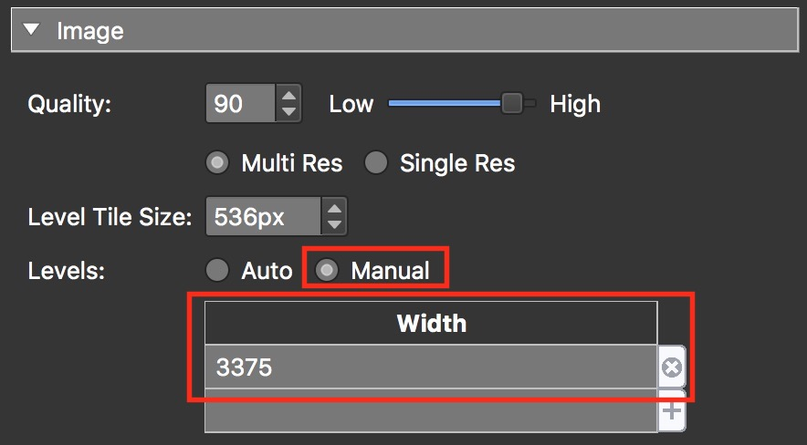 figure #6: Manual option and Width field