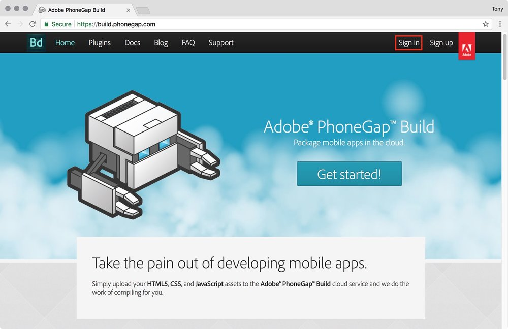 figure #2 : Sign in to PhoneGap Build
