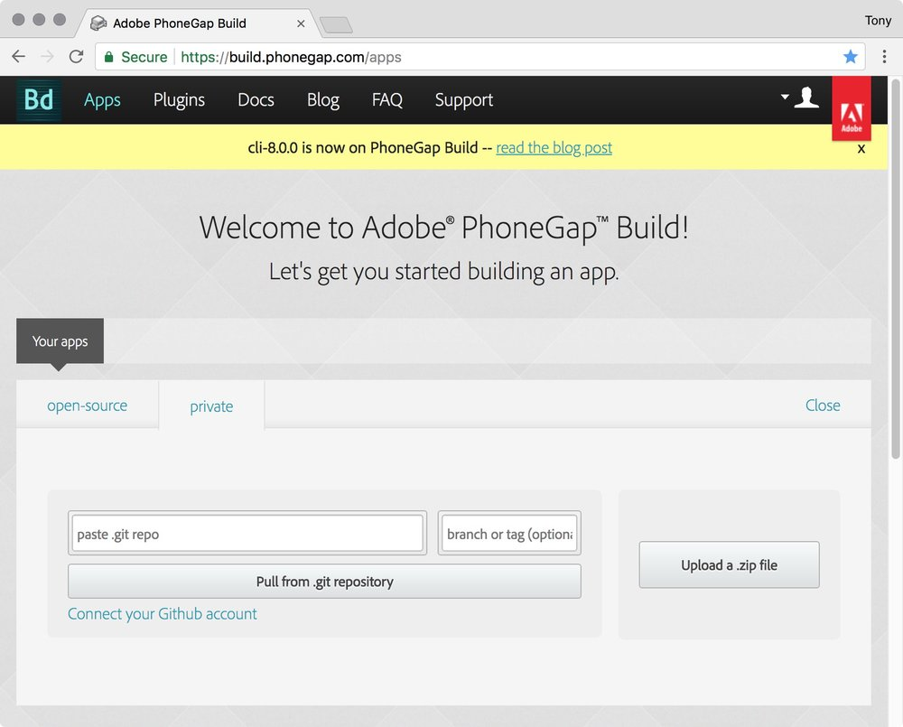 figure #14: Welcome to Adobe PhoneGap Build