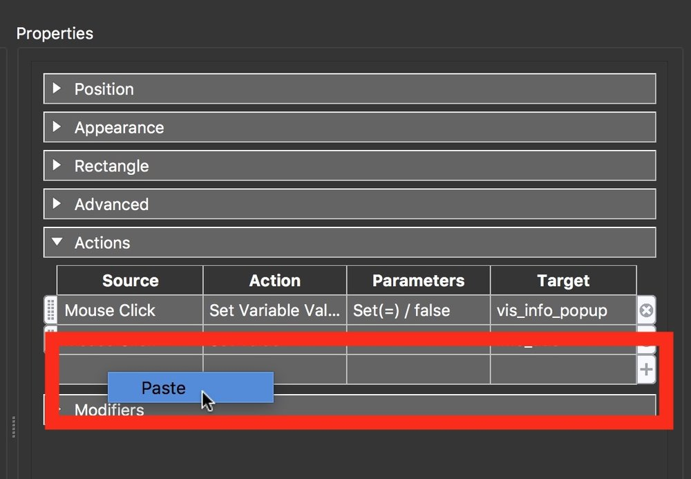 Figure #23: Paste in the action from info_popup_close