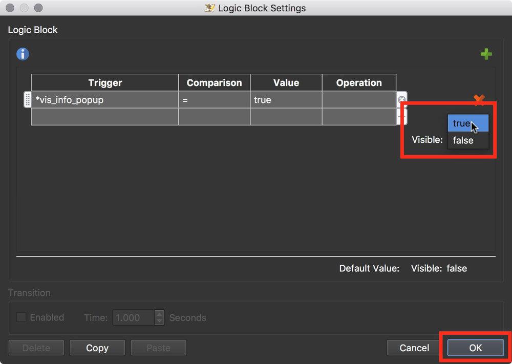 Figure #4: Visible Logic Block set trigger option