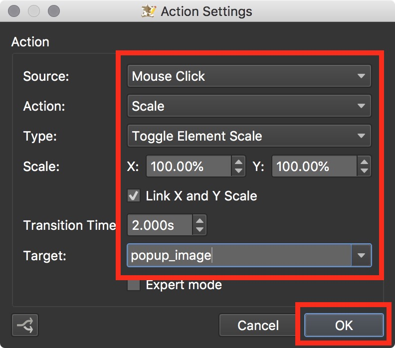 Figure #8: Action to set the scale size of popup_image
