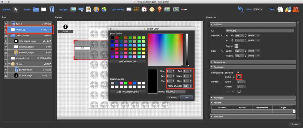 Figure #20: Set background colour to the rectangle