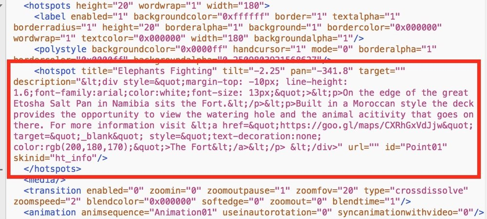 Figure #44: pano.xml hotspot entry