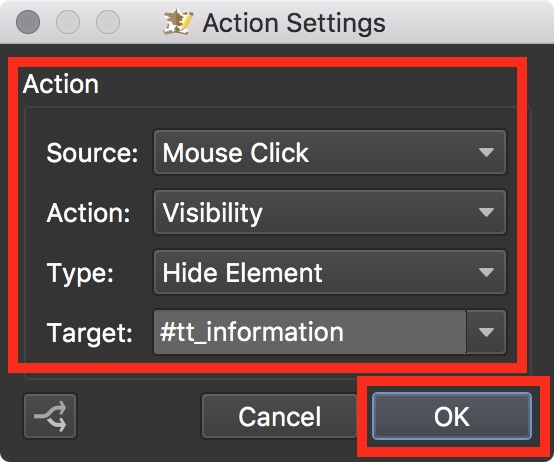 Figure #28: Mouse Click - Visibiltity settings