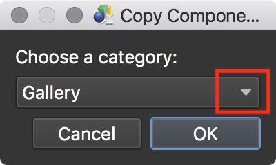 Figure #12: Copy Component window & dropdown menu