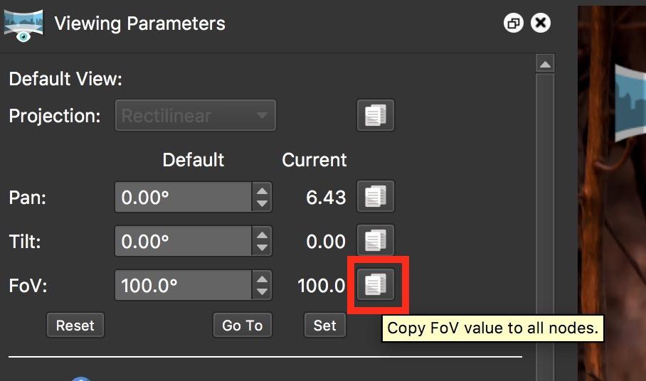 Figure #10: Copy FoV button
