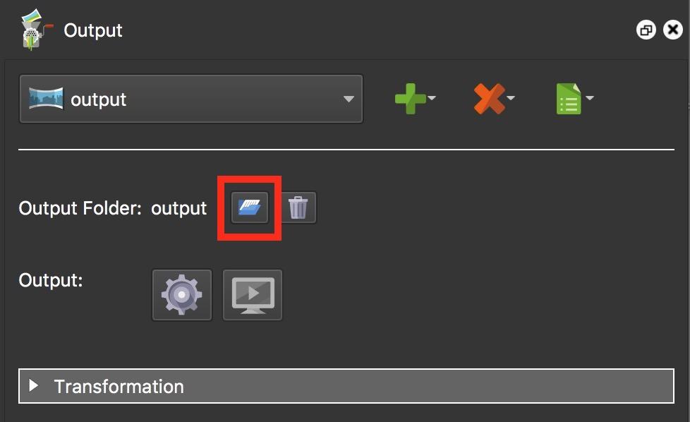 Figure #18: Add Output Folder button