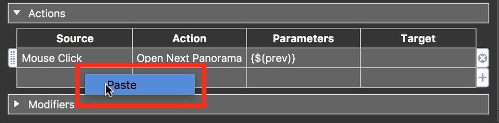 Figure #29: Paste the actions into the 'Pano Prev' elements Actions