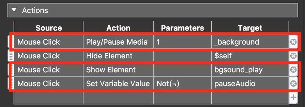 Figure #27: (above) original Actions (below) updated Actions