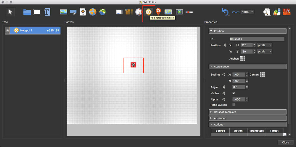 Figure #8: Hotspot Template added to the canvas