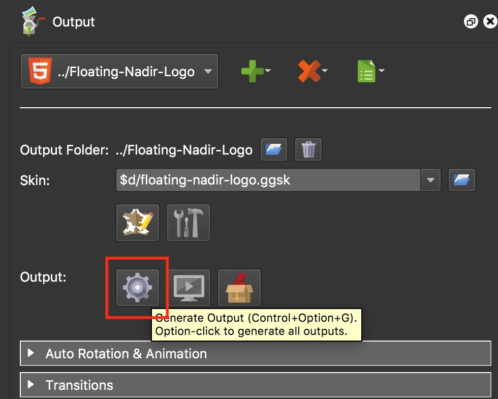 Figure #11: Generate Output button