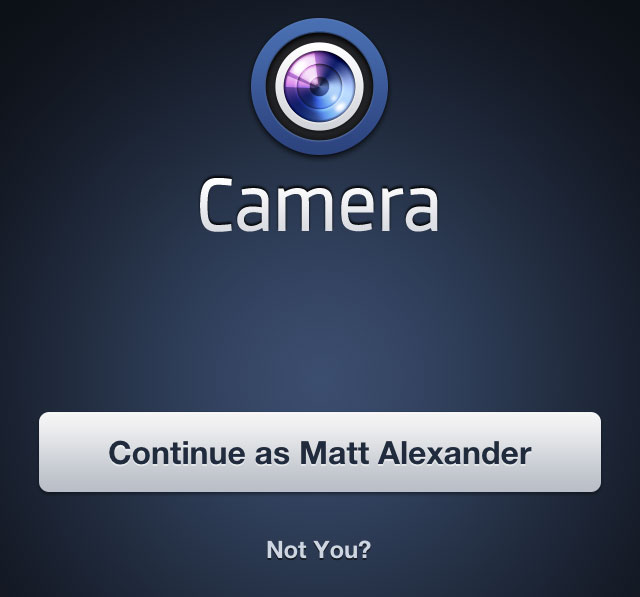 The Facebook Camera Login Screen