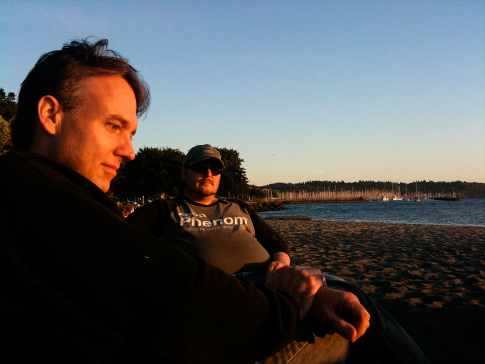 Brent and his good friend, Joe Heck, look at baby unicorns at sunset in Seattle.