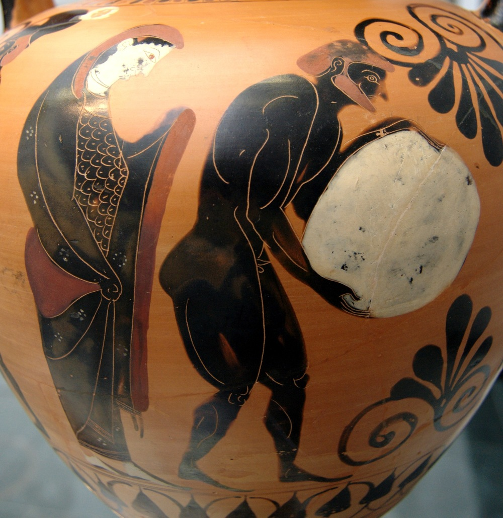 Nekyia: Persephone supervising Sisyphus pushing his rock in the Underworld. Side A of an Attic black-figure amphora, ca. 530 BC. From Vulci.