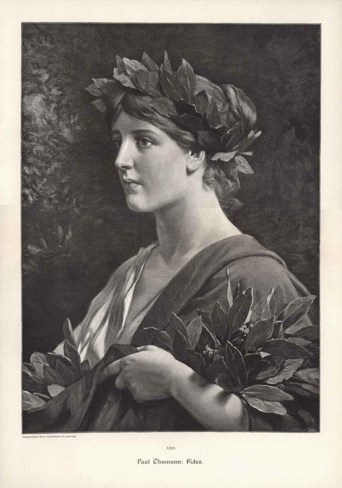 Fides, den romerske gudinnen for tillit. Inngravning av Paul Thumann (ca 1900).