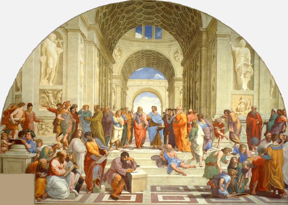 Skolen i Aten avRaffaello Sanzio (1509). Ledersamlinger før i tiden var ikke like godt strukturert.
