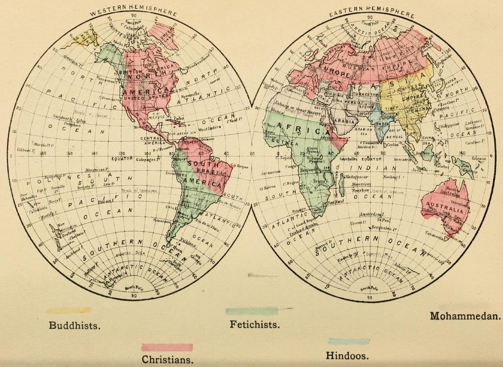 Verdenskart fra 1883 som deler verden inn i«Christians, Buddhists (Confucianist, Taoist, Shinto), Hindoos, Mohammedan, and Fetichists». Hentet fra commons.wikipedia.org