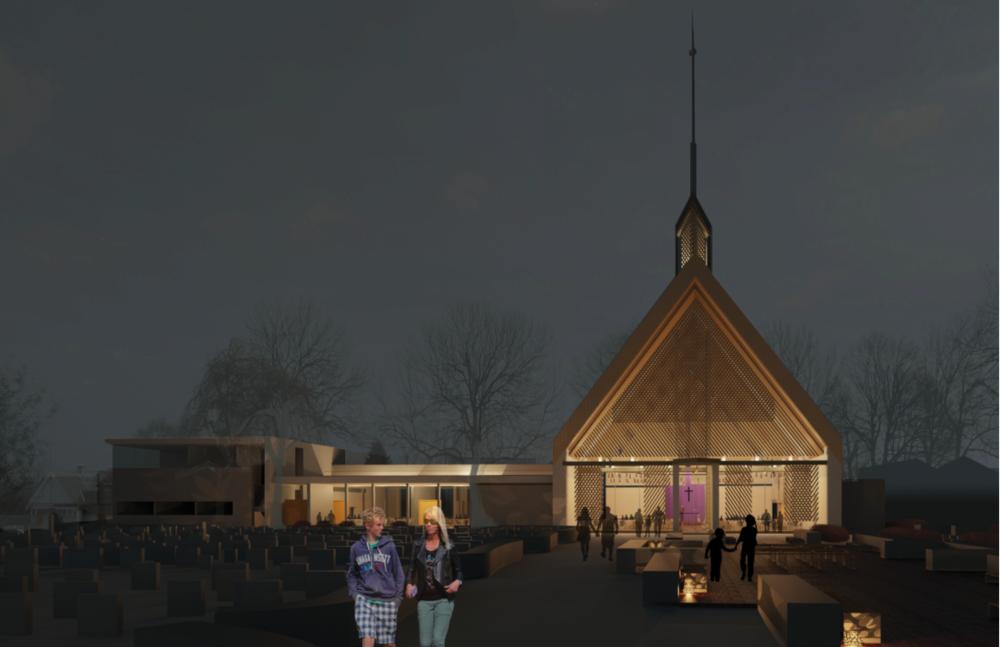 Illustrasjon avkirken somvant arkitektkonkurransen. Hele bygget vil utgjøre rundt1 825 kvm.