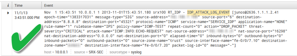 Verification of IDP functionality in  Splunk .