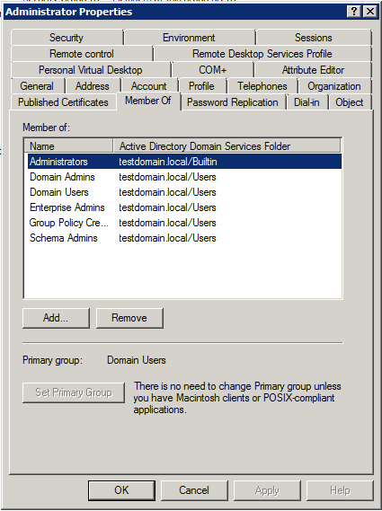 Active Directory group memberships