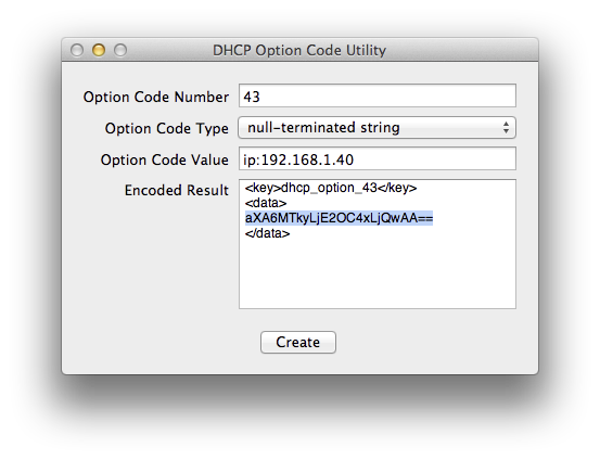 DHCP Code Option Utility for Option 43