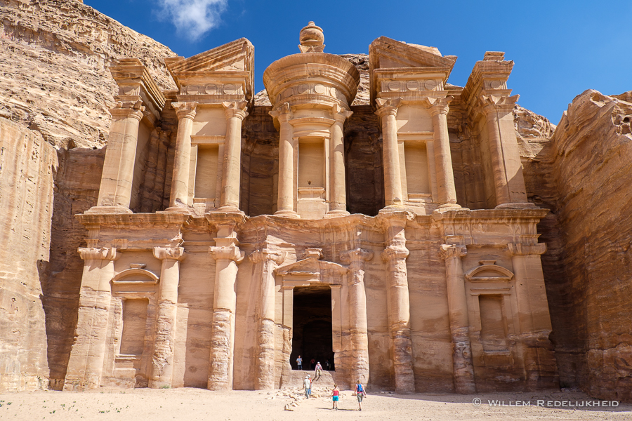 The Petra Monastery with tourists