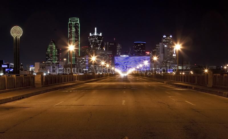 Nighttime Dallas Skyline Reflected In The Flooded Trinity