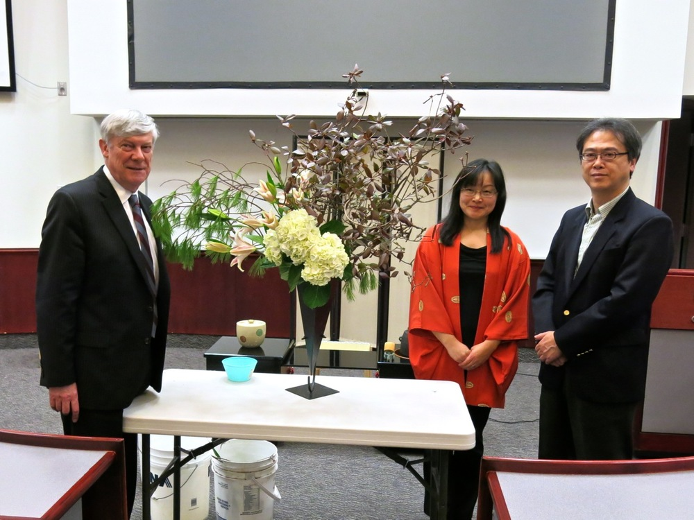 L-R: Dr. J. Colin Dodds, President of St. Mary's University; Miyako Ballesteros, ikebana artist; and Mr. Tatsuo Arai, Consul General of Japan at Montreal.