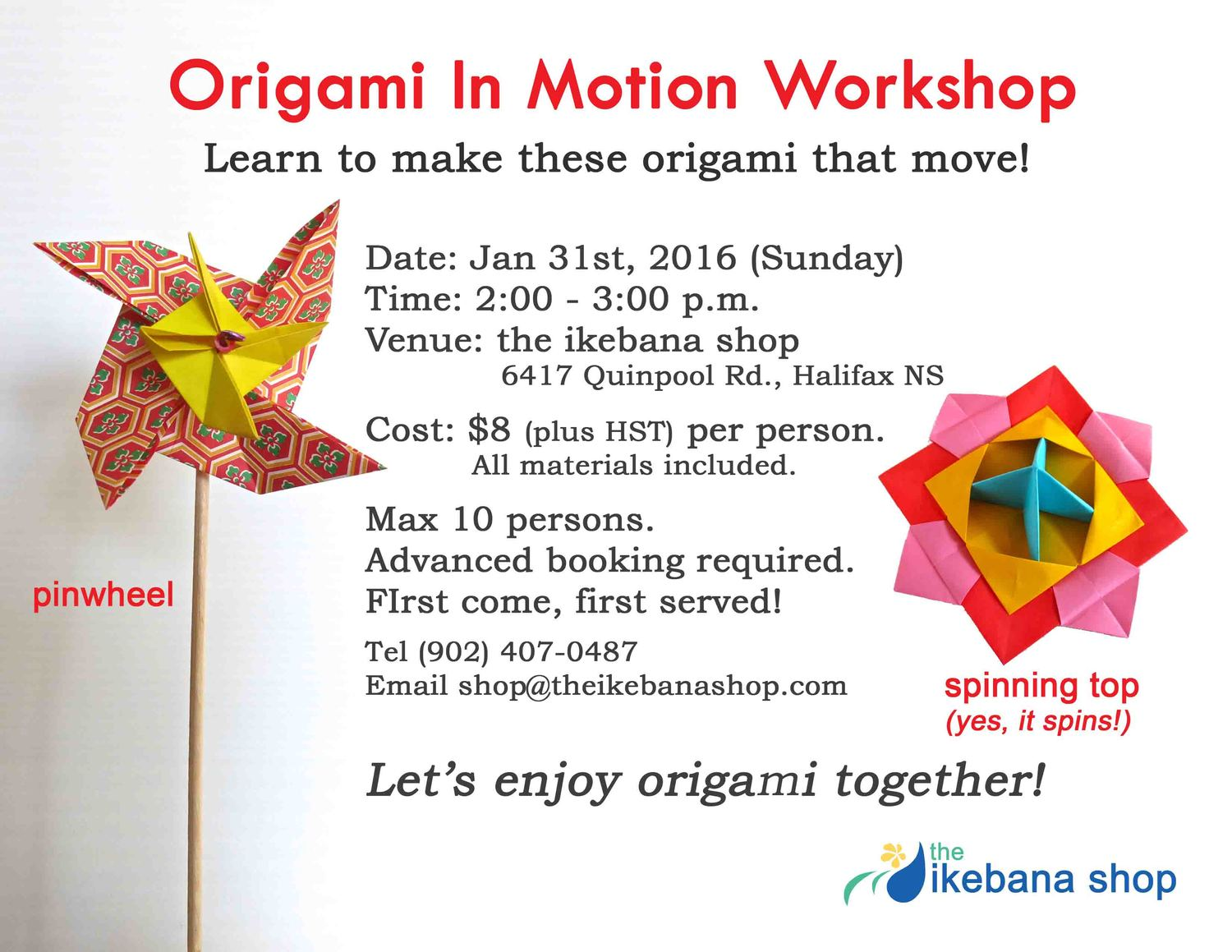 Origami in motion workshop the ikebana shop in this workshop we will make origami that go in motion one is a pinwheel that will spin when you blow on it and the other is a spinning top jeuxipadfo Images