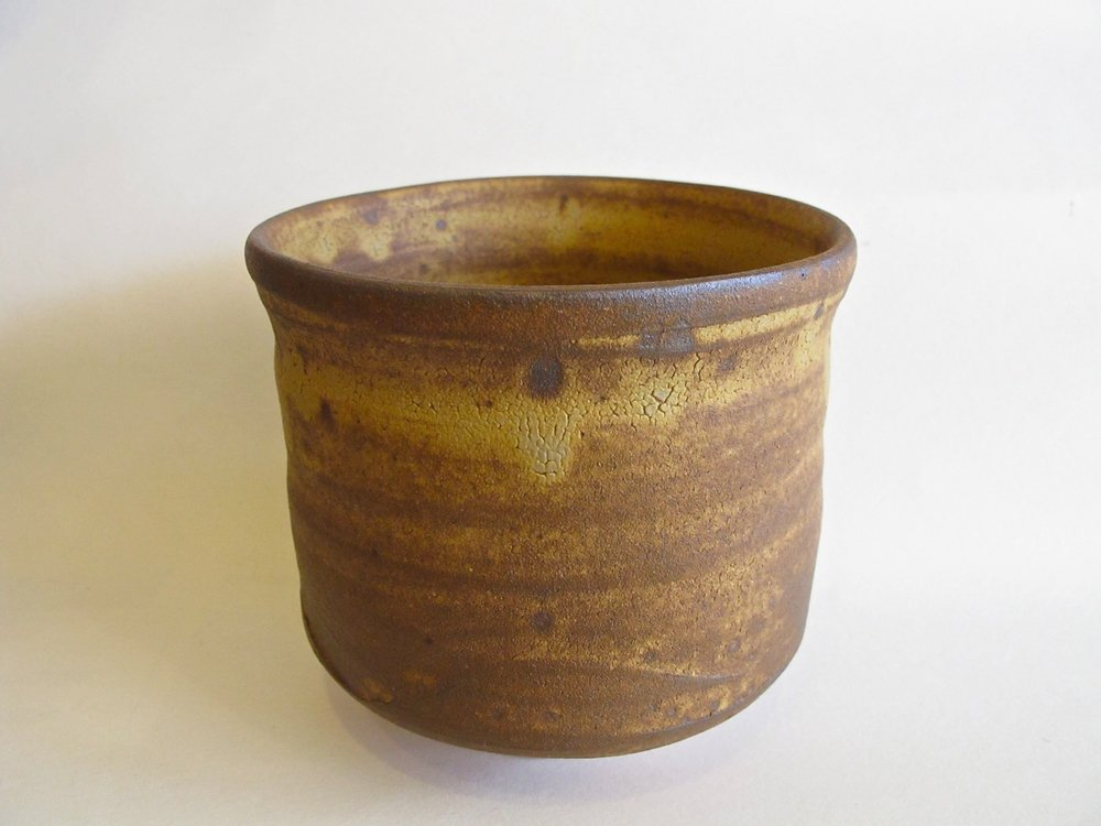 """This is a matcha tea bowl that is deeper than what we are used to seeing. It is a """"tsutsu-gata chawan"""" (筒形茶碗) ...literally """"cylinder-shaped tea bowl"""". It is a winter tea bowl normally used in Dec~Feb. The deep bowl keeps the matcha warm as it is served to guests."""