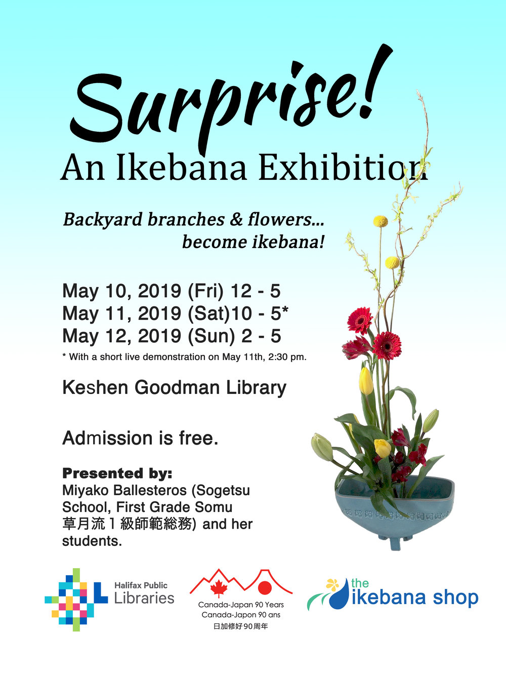 2019 ikebana Sogetsu Exhibit in Halifax.