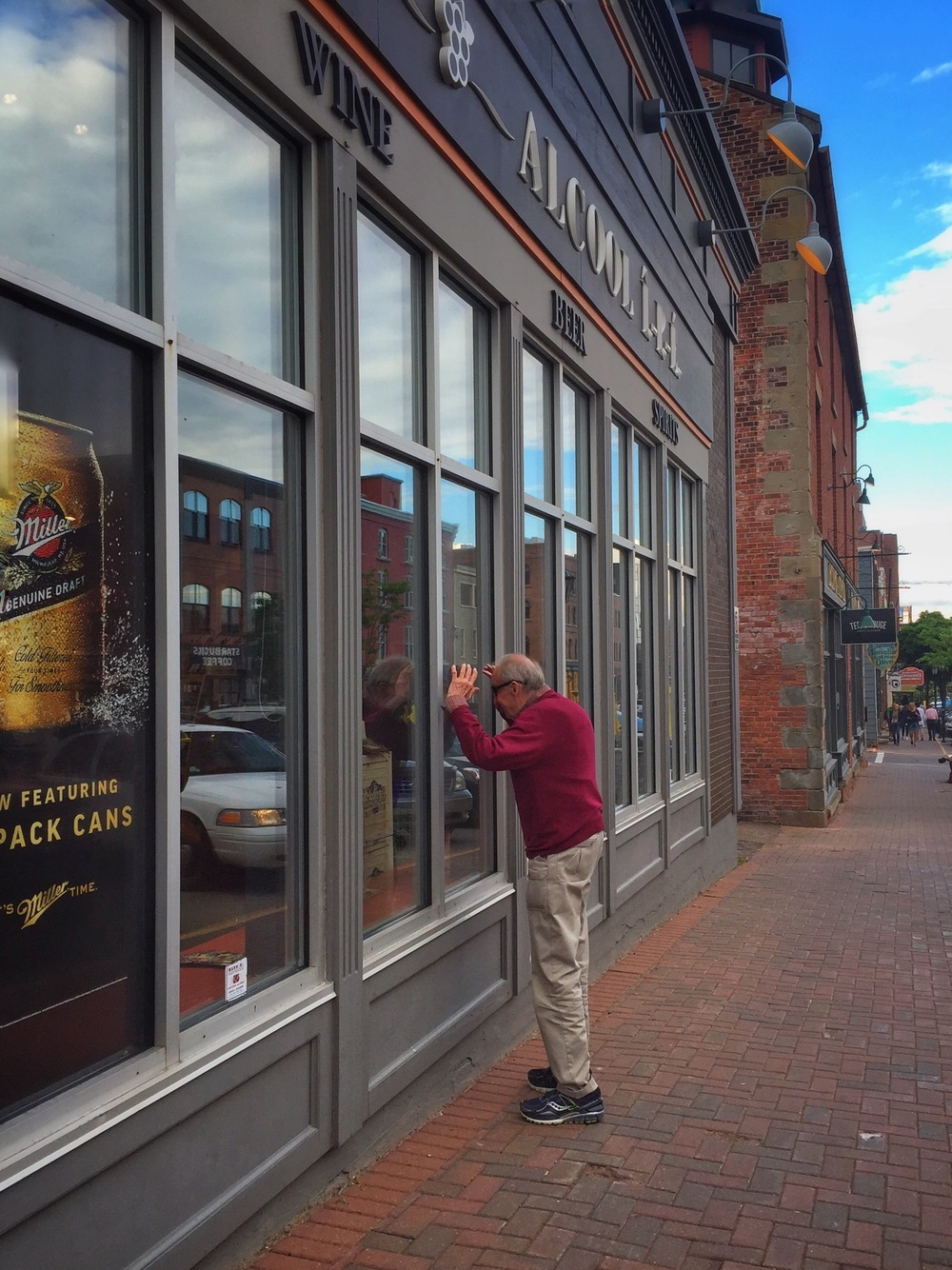 Dad Window Shopping on Queen St. in Charlottetown