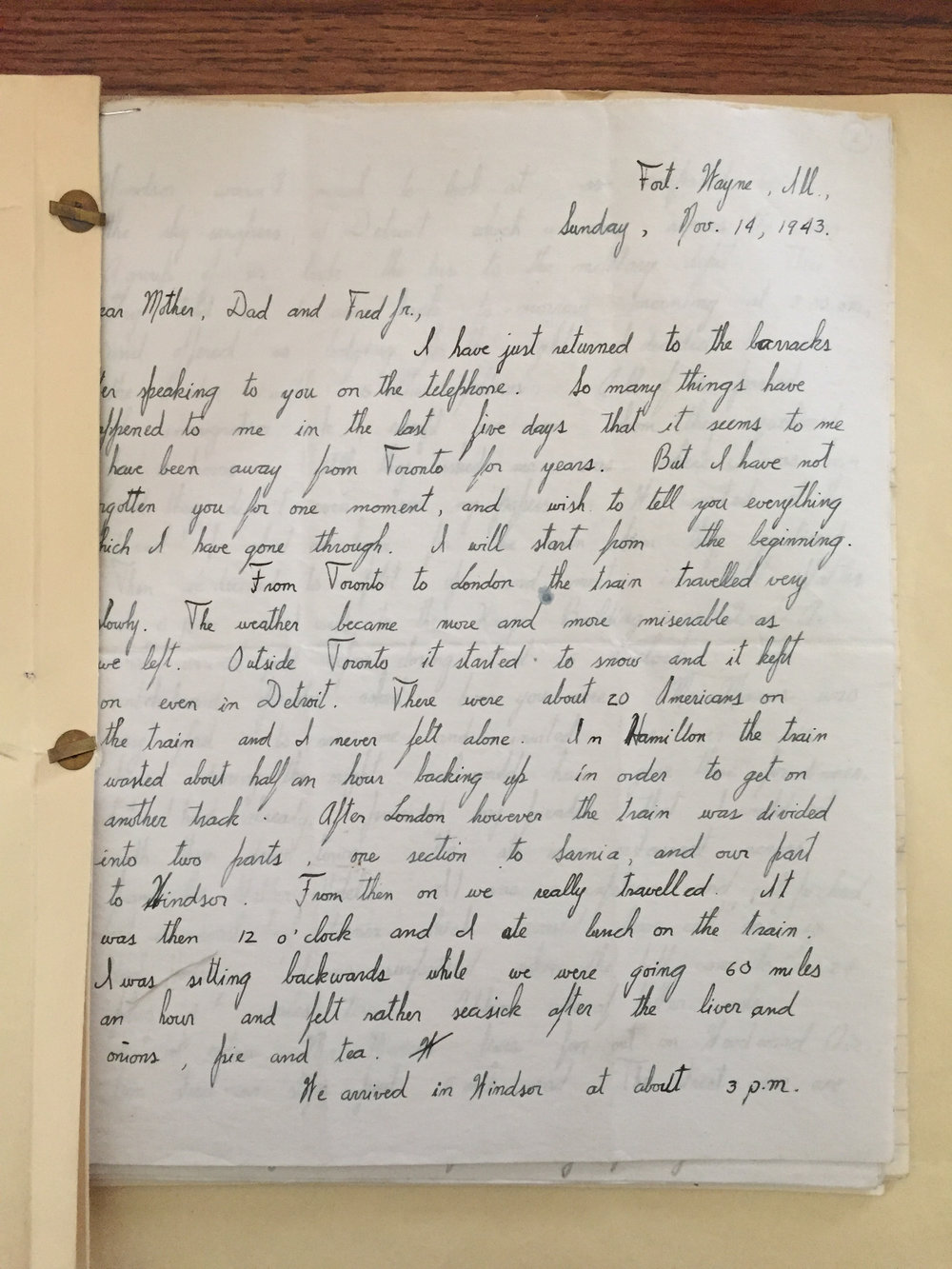 First Letter: Written five days after leaving Toronto.