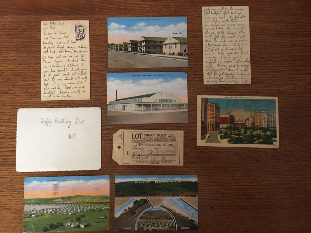 Postcards: Bill wrote many postcards, in addition to letters