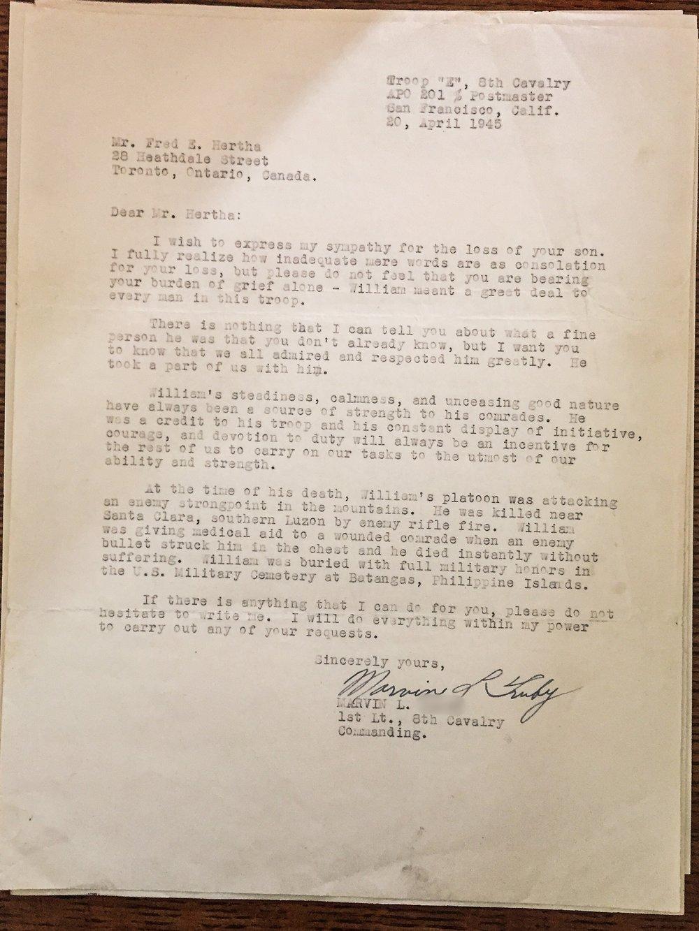 Letter from Commanding Officer