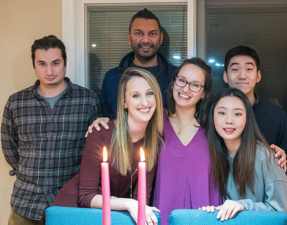 from the left:William (son), Erin (niece), Jeff (son-in-law), Carolyn (Daughter), Shuay (girl friend of Julian), Julian (nephew)