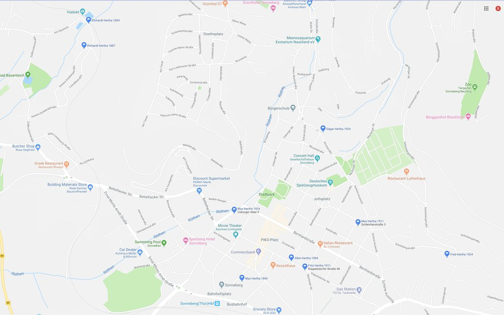 Map of Sonneberg showing business and residential locations of Hertha family members