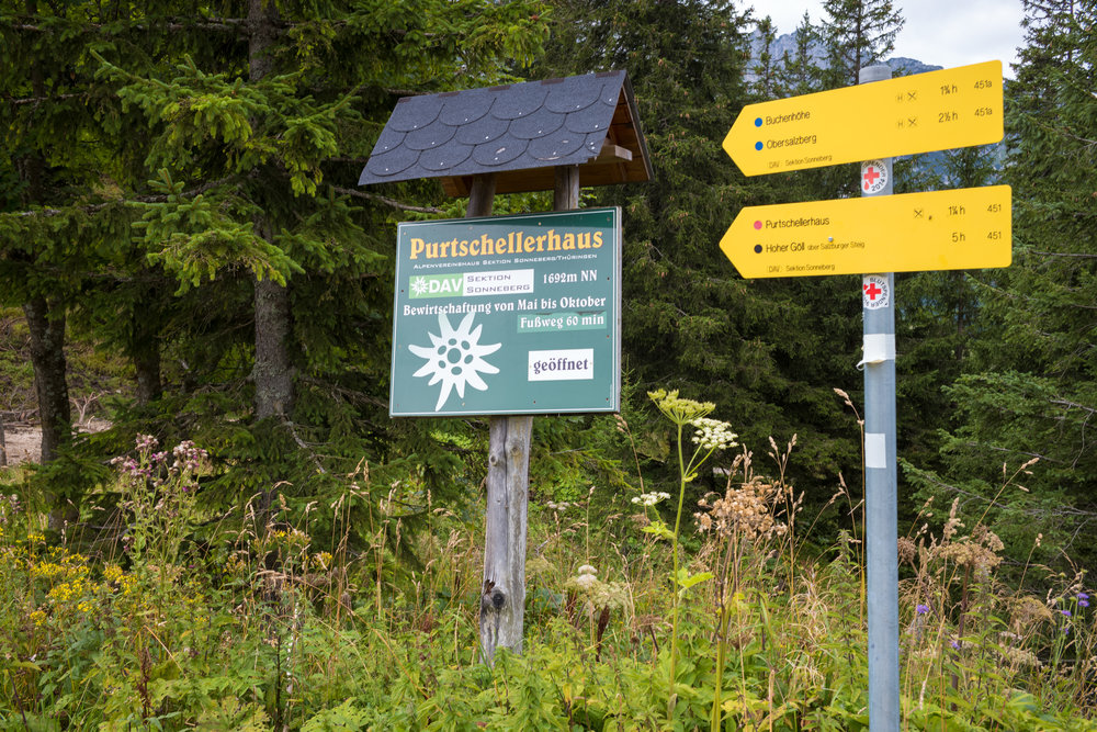 Start of Trail to Purtschellerhaus