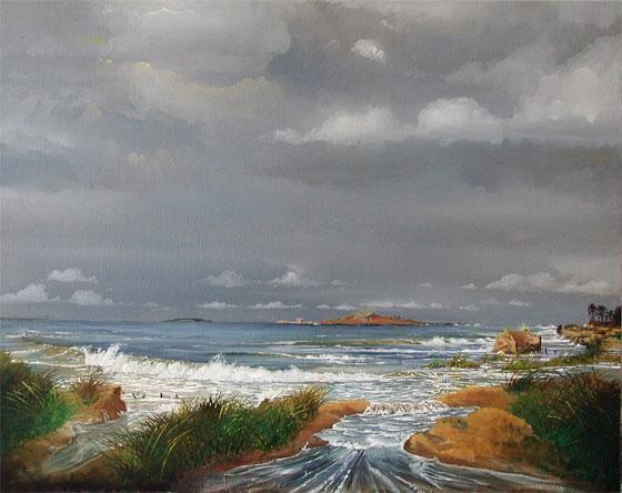 Oil Painting, Sutton Ireland's Eye and Lambay Island during flooding