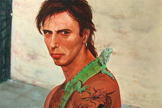 Oil Painting, Los Angeles Man with Lizard