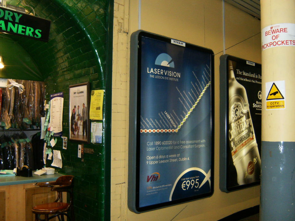 LaserVision Ad in Pearse Street Station in Dublin