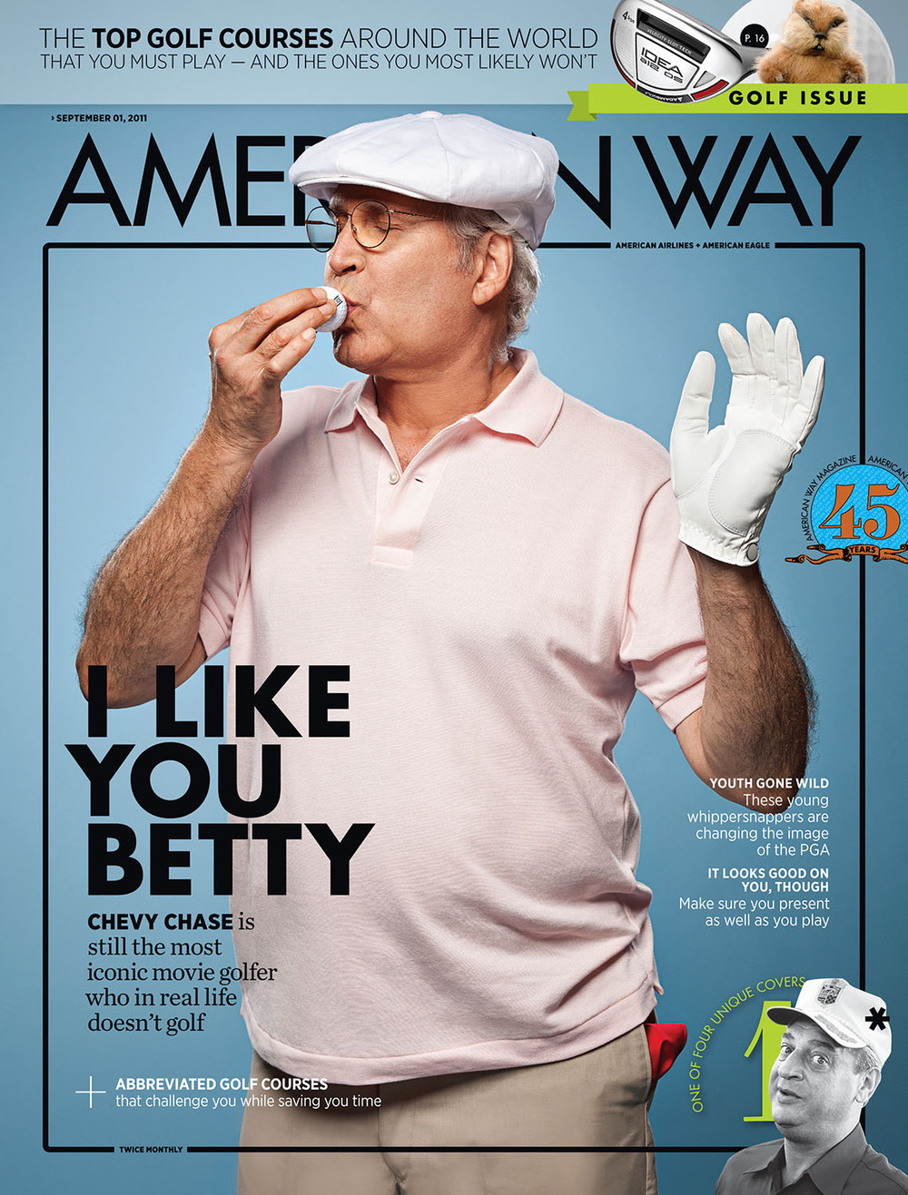 Chevy Chase on the cover of  American Way 's award-winning September 1, 2011, issue