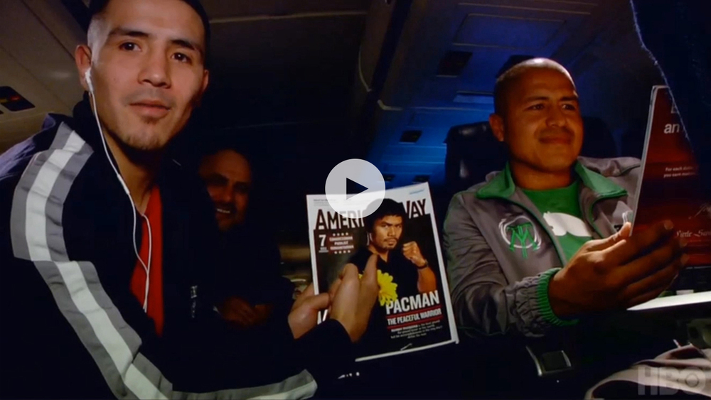 From left: Boxer Brandon Rios, Manny Pacquiao (cover) and trainer Robert Garcia