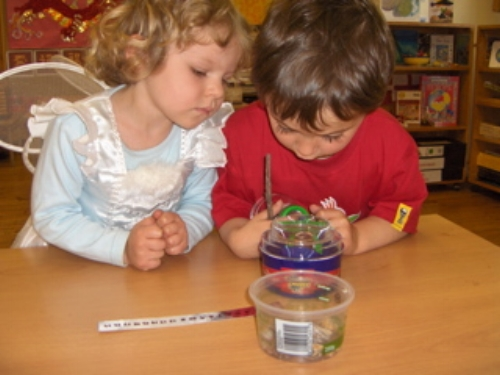 Children working with Montessori materials