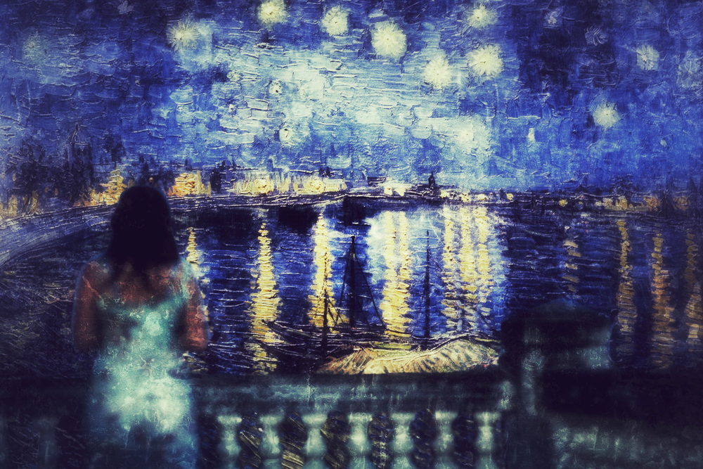 Starry Night Over the Rhone (September 1888) is one of Vincent van Gogh's paintings of Arles at night; it was painted at a spot on the river bank that was only a minute or two's walk from the Yellow House on the Place Lamartine which Van Gogh was renting at the time. The night sky and the effects of light at night provided the subject for some of his more famous paintings, including Cafe Terrace at Night (painted earlier the same month) and the later canvas from Saint-Rémy, The Starry Night.  - Wikipedia -
