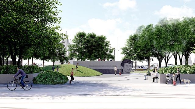 A public art and landscape memorial for Canadian hero #terryfox. In collaboration with artist Ken Lum, our proposal includes a simple landform and Feature Wall depicting the face of Terry Fox and an inspirational quote.  Formal gestures and materials are minimal, while public art is transformed into a habitable space and a new urban environment along the Toronto Waterfront.