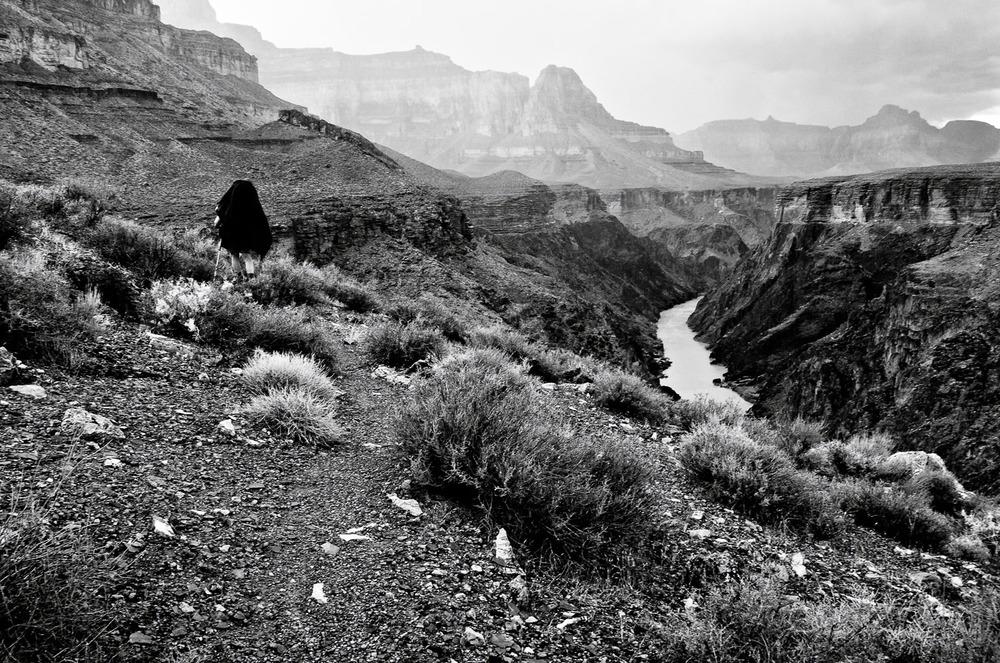 Hiker with Poncho, Tonto Trail | Mark Lindsay