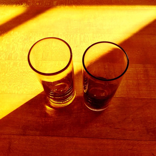 Two glasses in October light